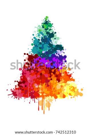 Paint Splatter Christmas Tree Stock Vector 742512310 - Shutterstock