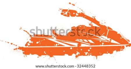 Paint Splatter Small Sporty Jet Ski - stock vector