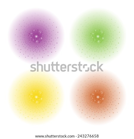 Paint spray beam effect. Purple, green, yellow, orange color splashes spheres. Vector clip art illustration isolated on white - stock vector