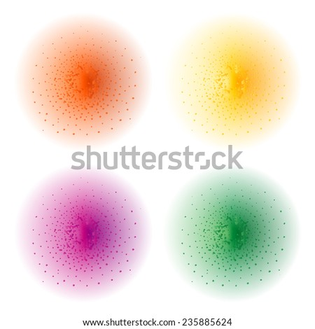 Paint spray effect.Orange, yellow, purple, green color splashes spheres. Vector clip art illustration isolated on white - stock vector