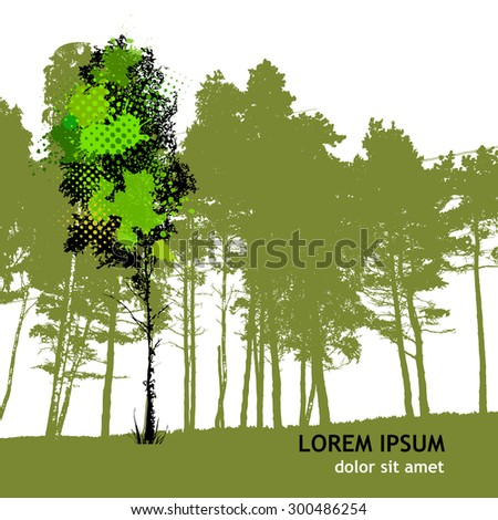 paint stains birch. Vector