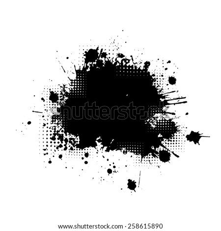 Paint stains black blotch background. Vector - stock vector