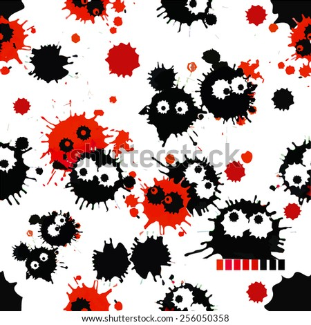 Paint stains virus. seamless background. Vector - stock vector