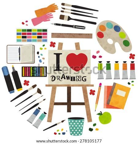 Paint Supplies Equipment Tools Vector Illustration Design