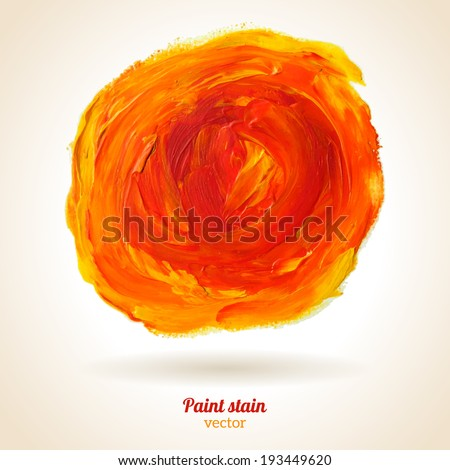 Paint texture. Vector illustration. Orange grunge template. Blobs, stain, paints blot. Composition for scrapbook elements. Brush strokes. - stock vector