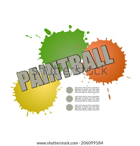 Paintball design  with paint smears - stock vector