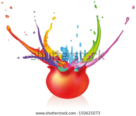 Paintball - Exploding ball splashing around with paint. Isolated vector on white background.