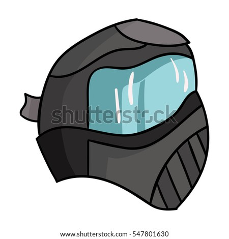 Paintball mask icon in cartoon style isolated on white background. Paintball symbol stock vector illustration.