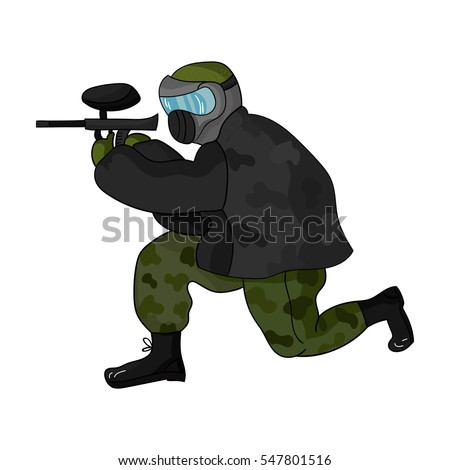 Paintball player icon in cartoon style isolated on white background. Paintball symbol stock vector illustration