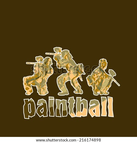 Paintball players, vector illustration 4 your design, eps10 2 layers - stock vector