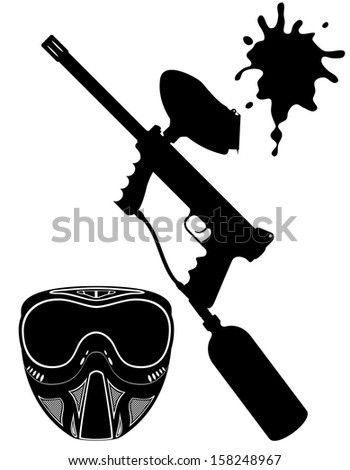 paintball set black silhouette vector illustration isolated on white background