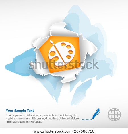 Paintbrush and breakthrough paper hole with ragged edges on watercolor background - stock vector