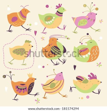 Painted Birds - stock vector