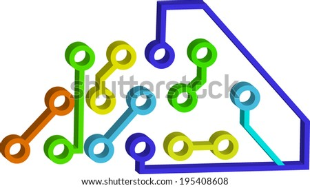 painted circuit  - stock vector