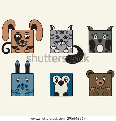 painted, color set square animals
