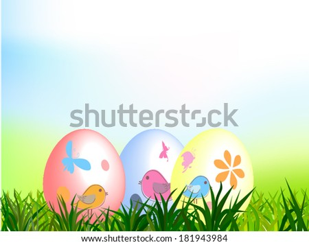 Painted easter eggs lays on green grass/Easter background/vector design