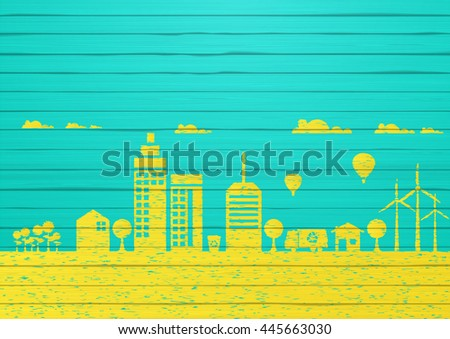 Painted Eco concept, on painted wooden board, colorful vector design.