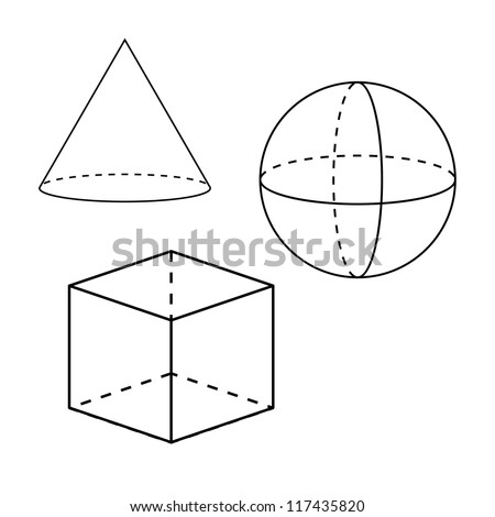Painted geometric shapes - stock vector