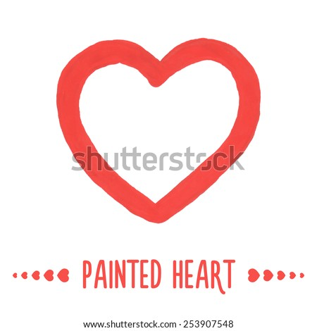 Painted hand drawn outlined heart. Vector illustration - stock vector