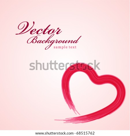 Painted heart shape Valentine's day vector background