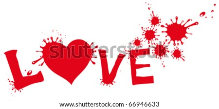 Painted heart with splashing. - stock vector