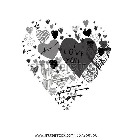 "Painted hearts with the inscription ""For you!"". Hearts in the style of drawing, doodle, sketch. Vector drawing red hearts isolated on white background. Hearts Valentine's Day. - stock vector"