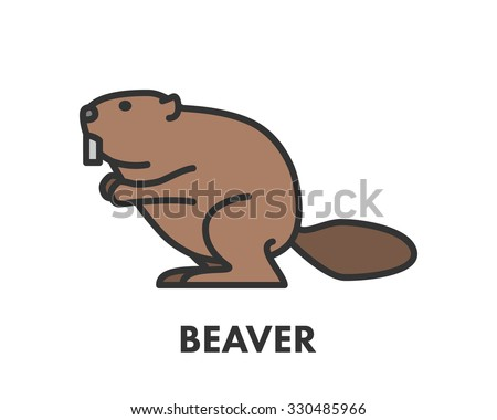 Painted Line Figure Beaver Vector Outline Stock Vector Royalty Free