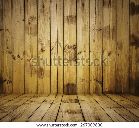 painted old wooden wall. brown room, vector