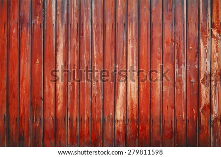 painted old wooden wall. red background, vector - stock vector