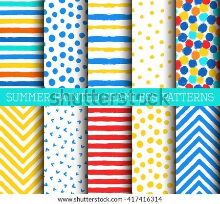 Painted Patterns. Seamless paint, painted dots, paint stripes, paint lines, grunge paint, paint texture, paint chevron. Vector painted patterns set. Paint brush, yellow paint, blue paint, red paint. - stock vector