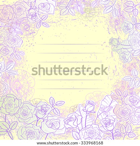 Painted roses on a light background. Flowers arranged in a circle around the row for the record - stock vector