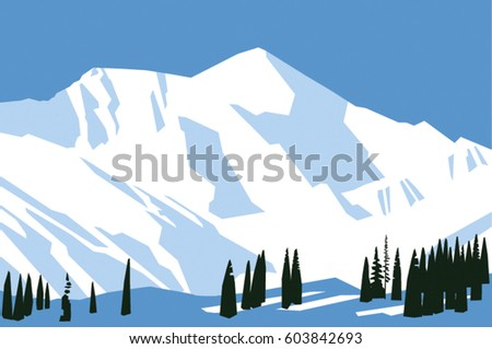 Painted snow mountains