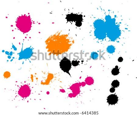 Painted splashes and splatter background - stock vector
