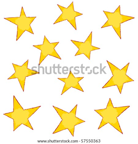 painted stars - stock vector