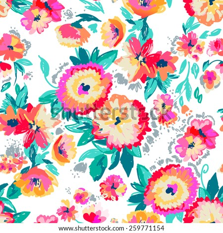 Painted vector flowers ~ seamless background - stock vector
