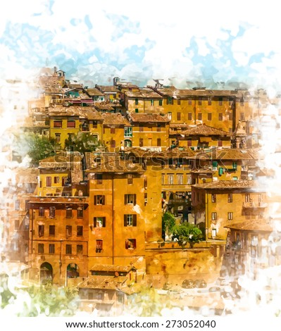 Painted view of medieval houses of Siena in Tuscany. Beautiful postcard from Italy. Travel background - stock vector