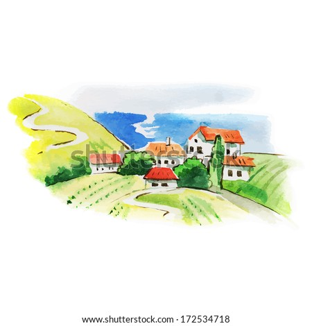 Painted watercolor vineyard landscape  - stock vector