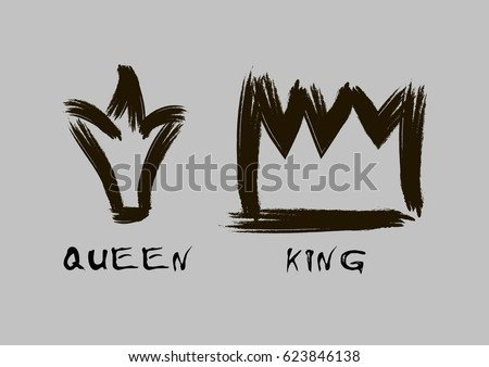 crown brush logo. painted with a brush crown of the king and queen in grunge style black on an logo h