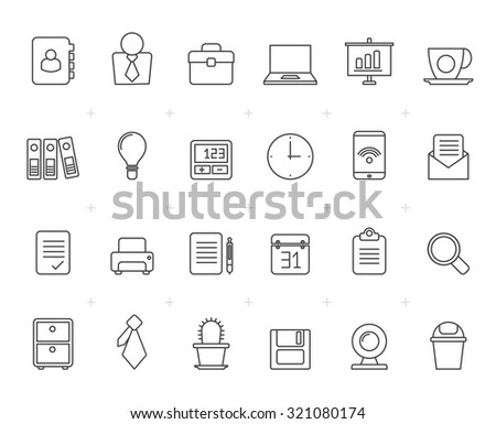 Painted with Lines Business and office icons - vector icon set - stock vector