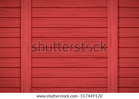 Painted Wood Background. Plank Red color. Vector Illustration