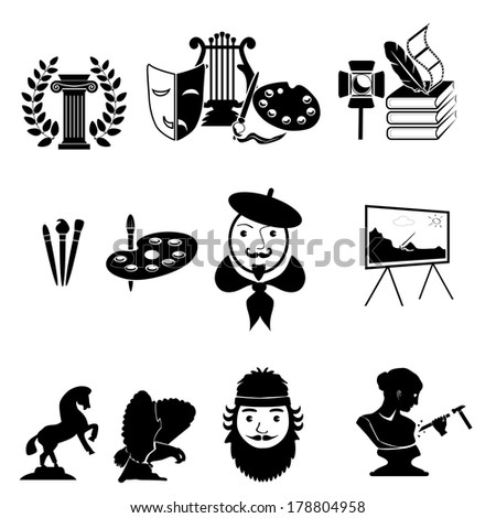painter and sculptor vector icons. art Icons set - stock vector