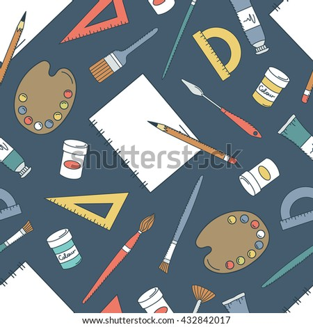 Painter and tools icon hand drawn seamless pattern. Doodle professional tools collection. Colorful illustration vector. Sketch objects