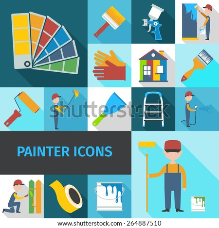 Painter cartoon character man flat shadow pictograms set with pail brush and ladder abstract isolated vector illustration - stock vector
