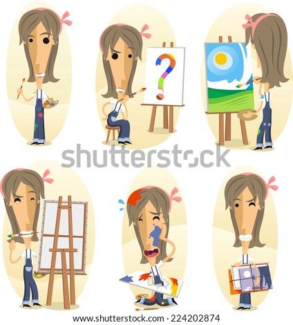 Painter painting on canvas, Cartoon Visual artist action set. Vector illustration cartoon.  - stock vector