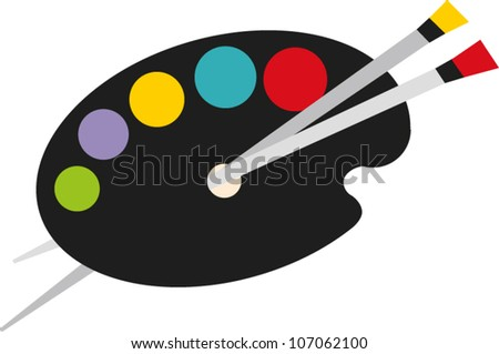 Painter's palette with brushes and colored spots of paint - stock vector