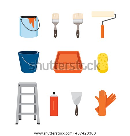 Painter Tools Objects Icons Set, Equipment, Profession, Occupation, Worker, Job, Duty - stock vector