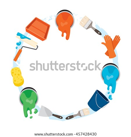 Painter Tools Objects Icons Set On Circle Frame, Equipment, Profession, Occupation, Worker, Job, Duty - stock vector