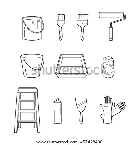 Painter Tools Objects Outline Icons Set, Equipment, Profession, Occupation, Worker, Job, Duty - stock vector