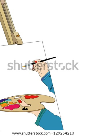Painter with color palette - stock vector