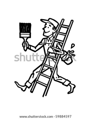 Painter With Ladder - Retro Clip Art - stock vector